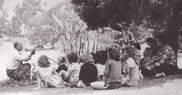 Harbison talks to Units I and II at Scoutland Day Camp in Glen Park, June 17, 1948.