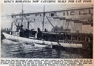 The ship, Romancia, used to take the sea lions. LP Telegraph, 1937.