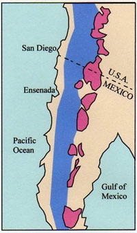 Distribution of 90-100 million year old granitic plutons (pink) of the eastern zone of the Peninsular Ranges batholith. Blue approximates the western zone of the batholith.