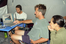 Field communications tent during the 2003 Binational Expedition
