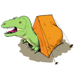 Camp-o-saurus Dino in Tent