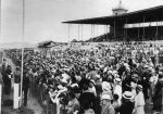 Crosby mingles with racing fans on the day the track opened its gates to the public, July 3, 1937.