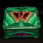 Intarsia Butterfly Box Created by Nikolai Medvedev. Malachite, sugilite, tourmaline, and gold. Teakwood inlay. 10 x 9.2 cm. Photo by Tom Spann