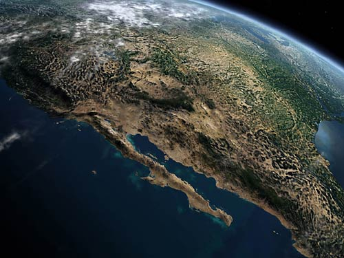 Desert And Sea - North america satellite image